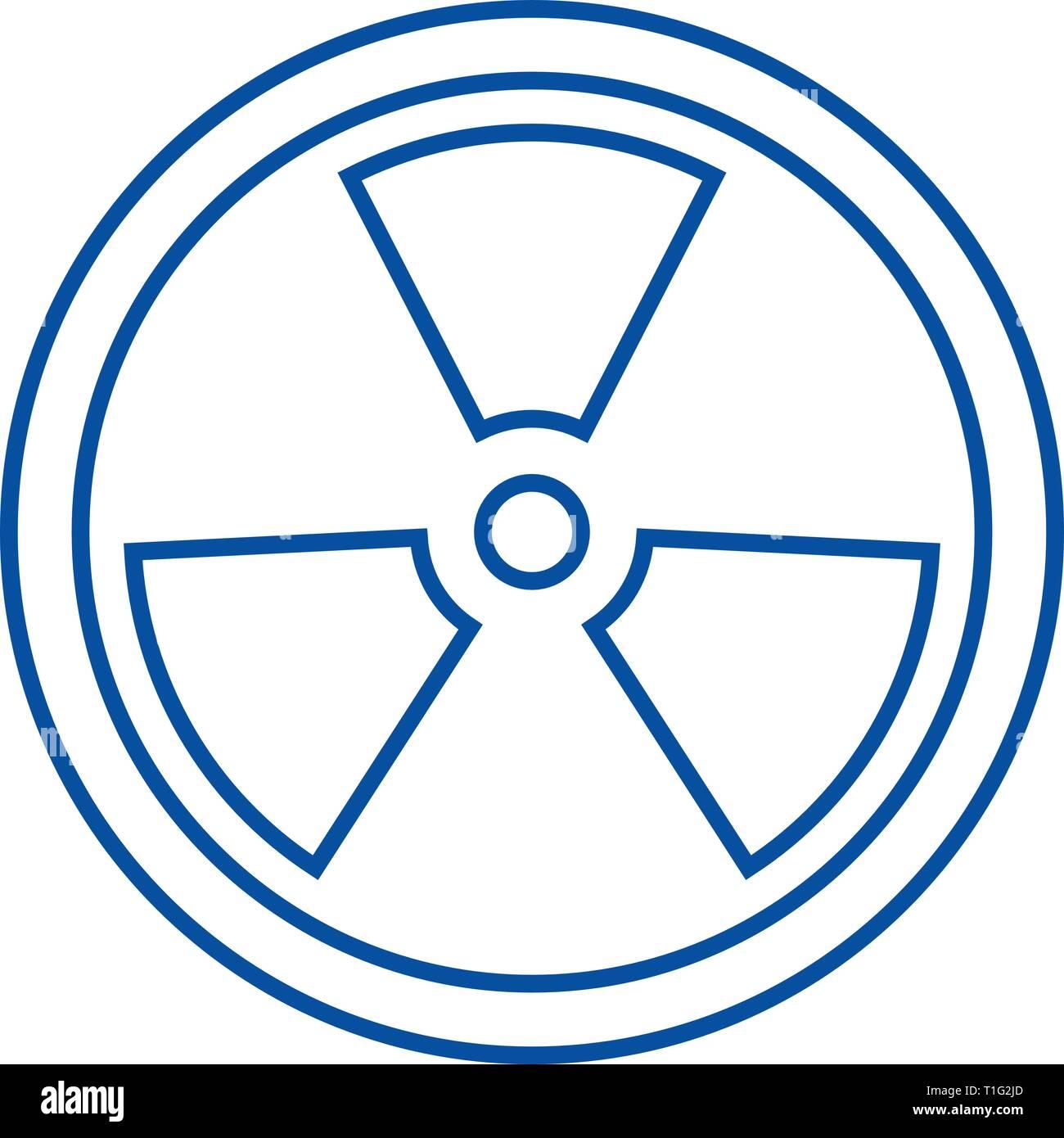Biohazard,dangerous radiation line icon concept. Biohazard,dangerous radiation flat  vector symbol, sign, outline illustration. - Stock Vector