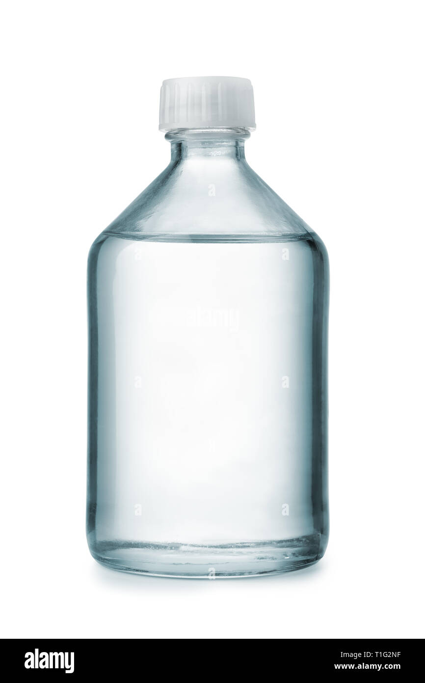 Front view of chemical glass bottle with transparent liquid isolated on white - Stock Image