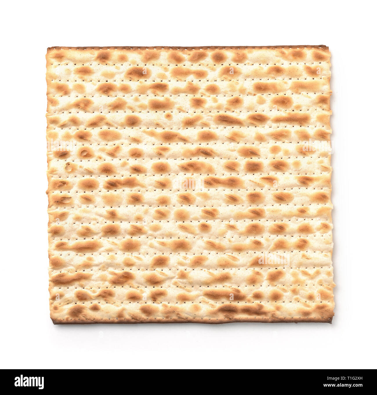 Top view of flatbread matzo isolated on white - Stock Image