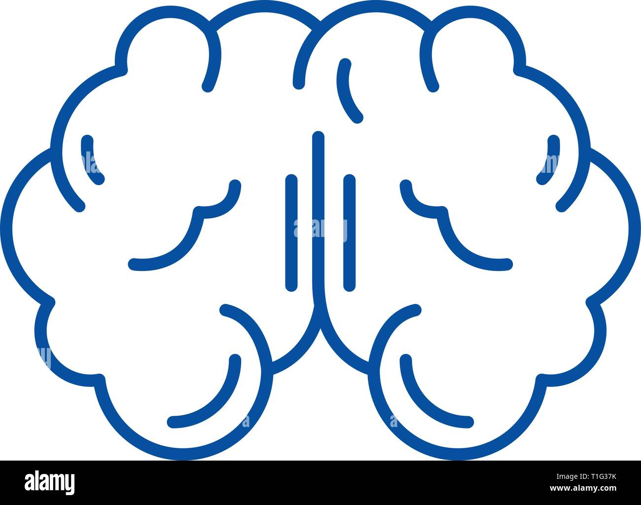Brain line icon concept. Brain flat  vector symbol, sign, outline illustration. - Stock Image