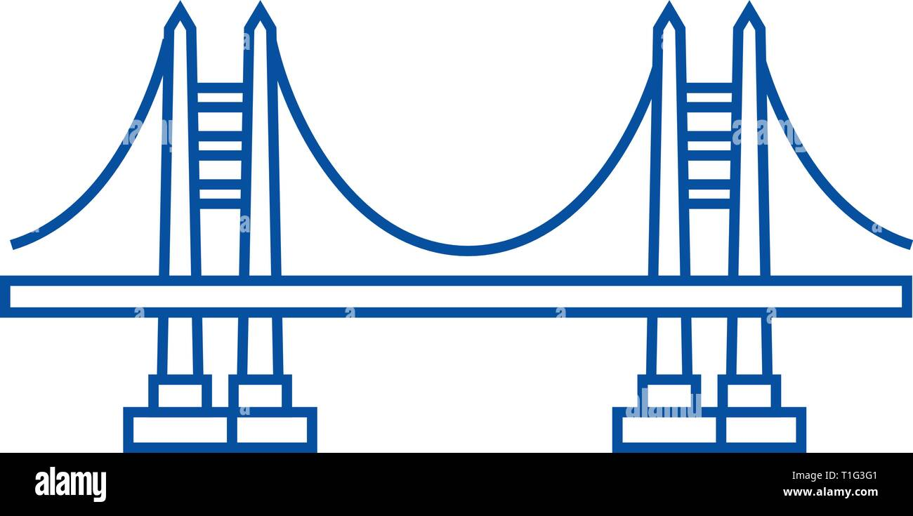 Bridge line icon concept. Bridge flat  vector symbol, sign, outline illustration. - Stock Vector