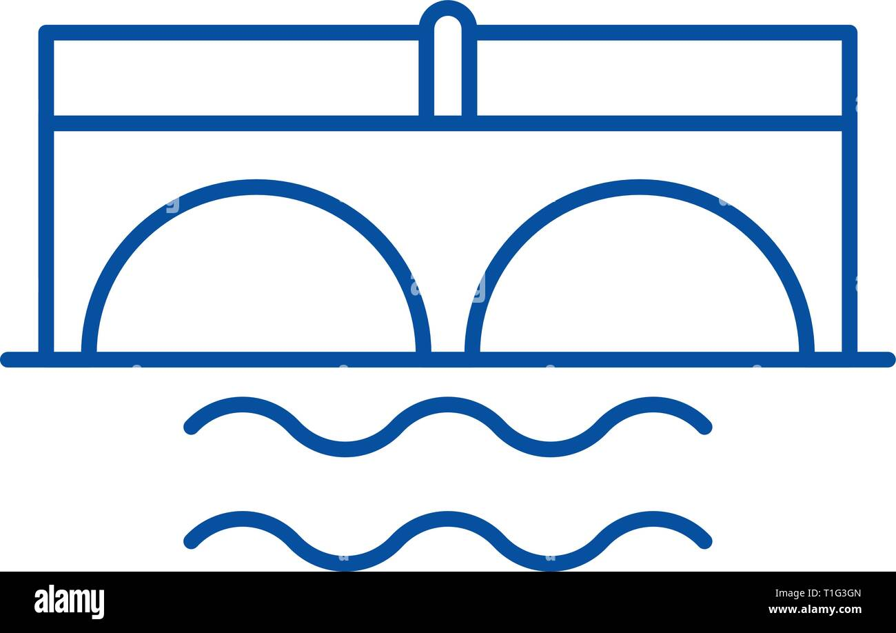 Bridge over river line icon concept. Bridge over river flat  vector symbol, sign, outline illustration. - Stock Vector