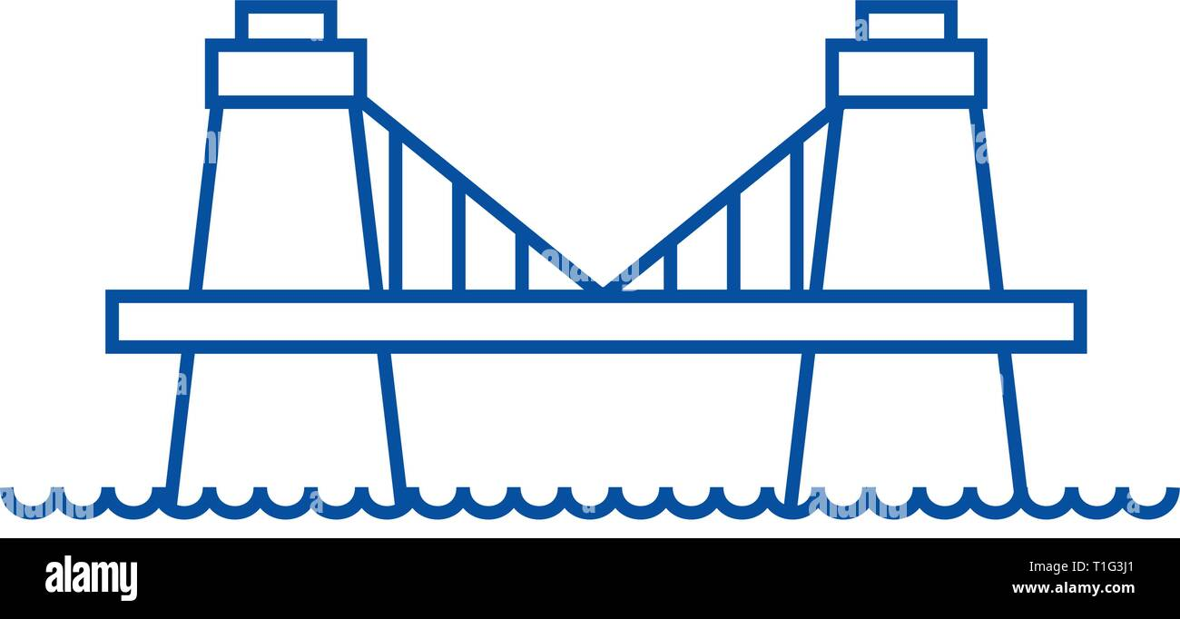 British bridge line icon concept. British bridge flat  vector symbol, sign, outline illustration. - Stock Vector