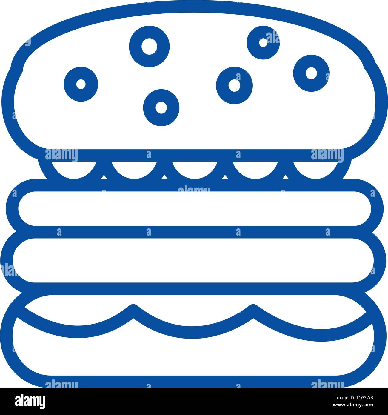 Burder sign line icon concept. Burder sign flat  vector symbol, sign, outline illustration. - Stock Vector