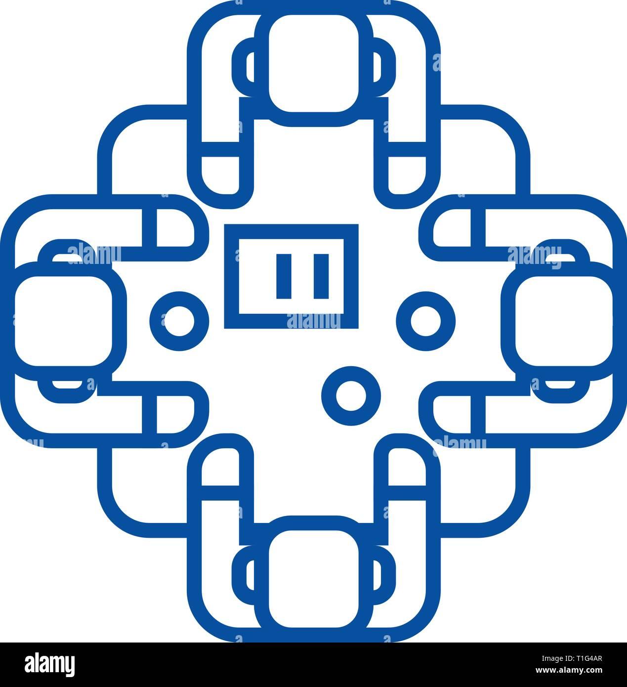 Business meeting,talks,brainstorm line icon concept. Business meeting,talks,brainstorm flat  vector symbol, sign, outline illustration. Stock Vector