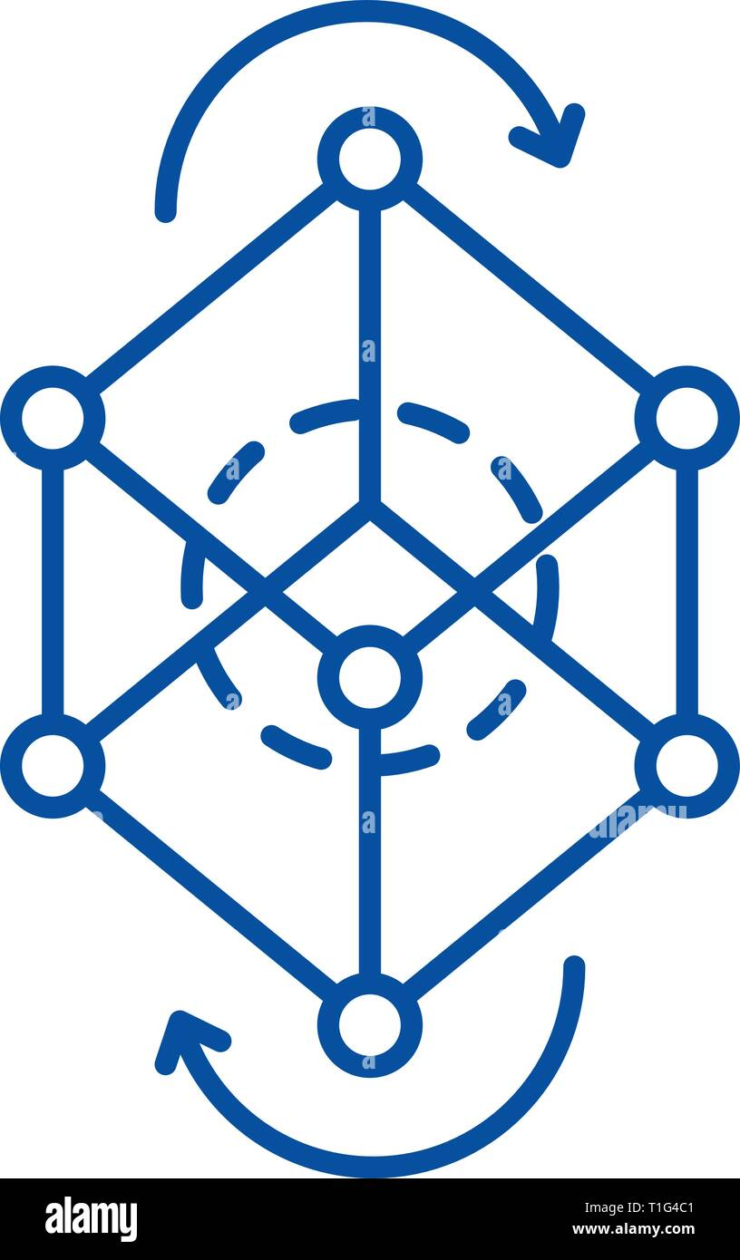 Business model pivot line icon concept. Business model pivot flat  vector symbol, sign, outline illustration. - Stock Image