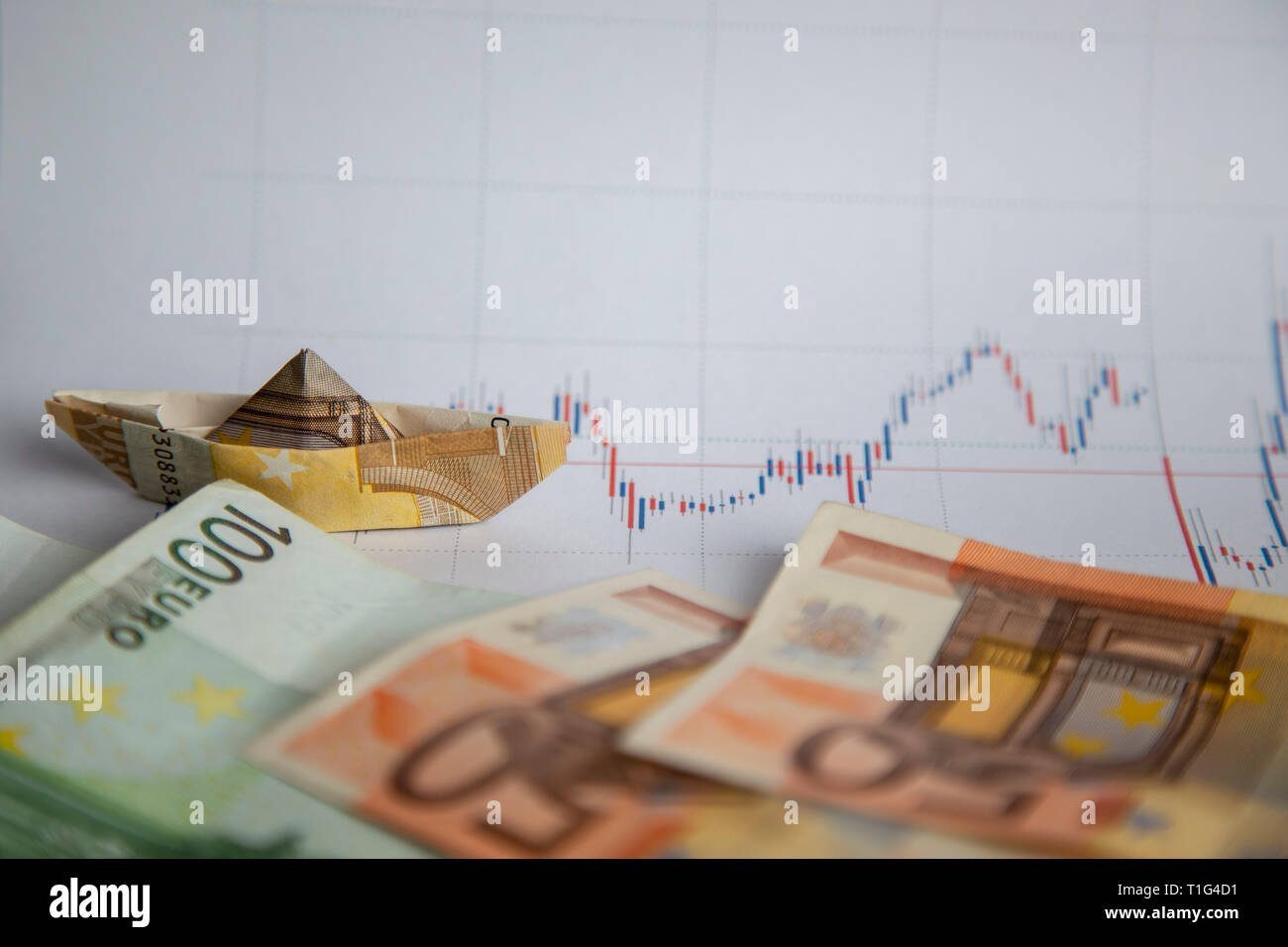 navigating with euros through the stock markets Stock Photo