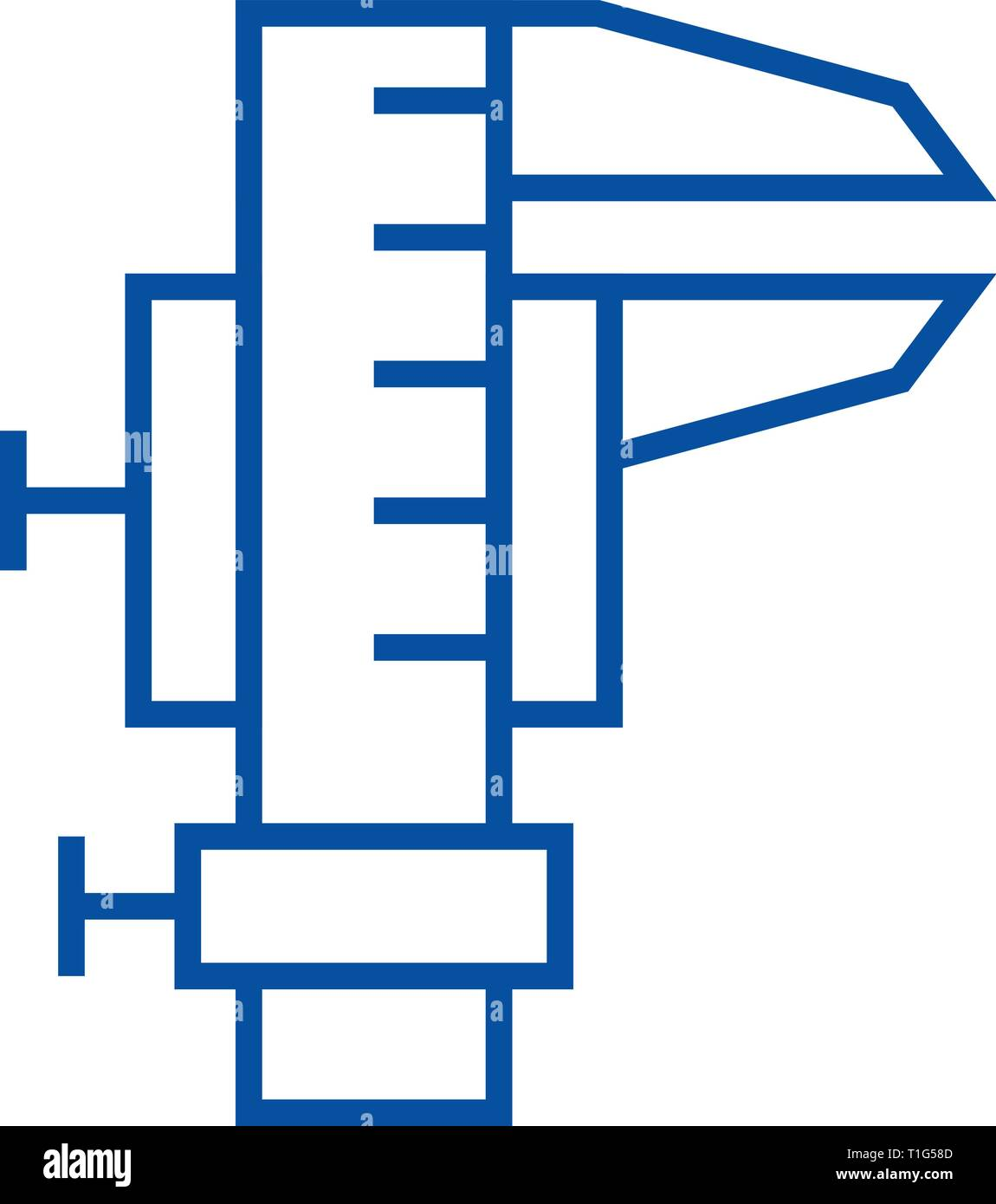 Caliper tool line icon concept. Caliper tool flat  vector symbol, sign, outline illustration. - Stock Image