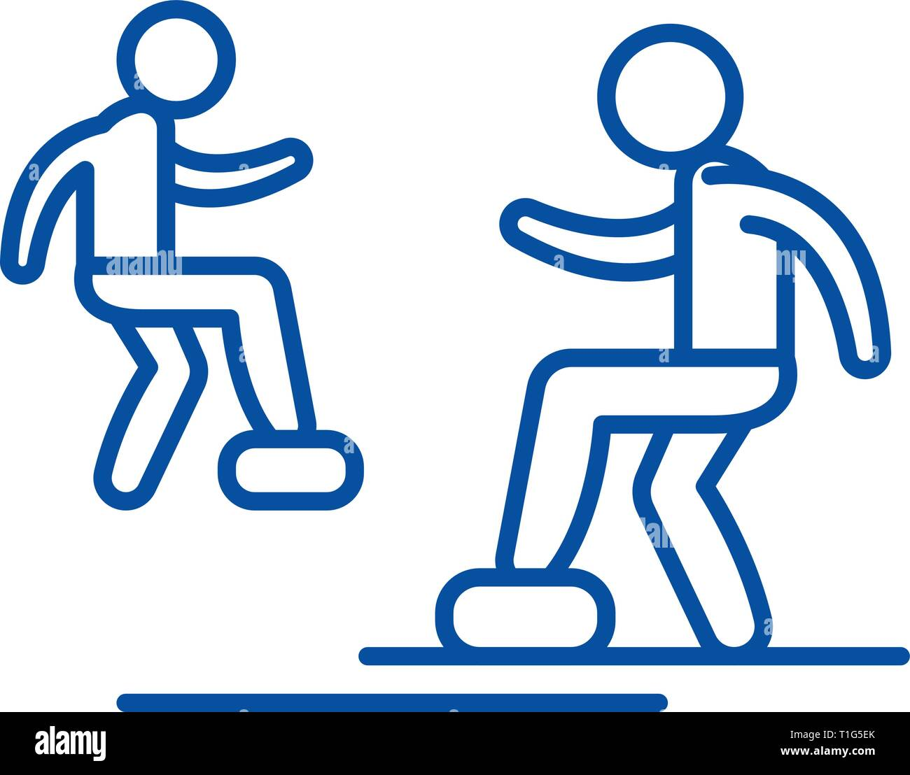 Cardio exercise line icon concept. Cardio exercise flat  vector symbol, sign, outline illustration. - Stock Image