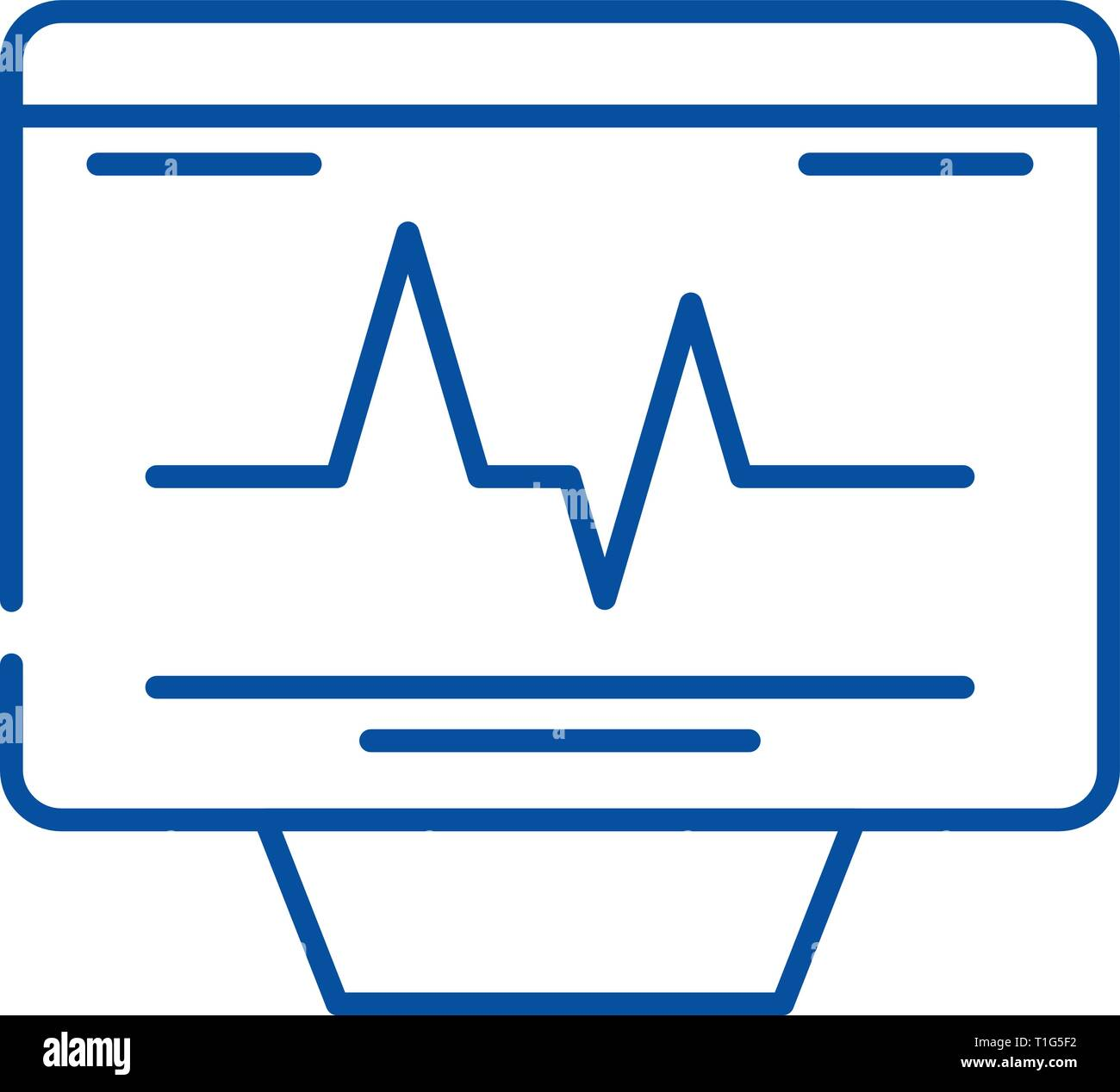 Cardiovascular check line icon concept. Cardiovascular check flat  vector symbol, sign, outline illustration. - Stock Image