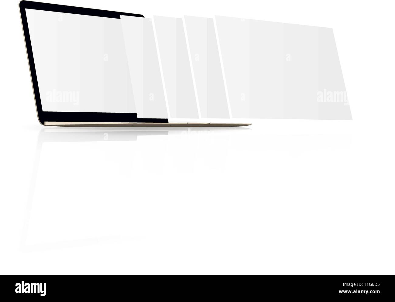 Laptop monitor with blank screen and a blank web pages - Stock Image