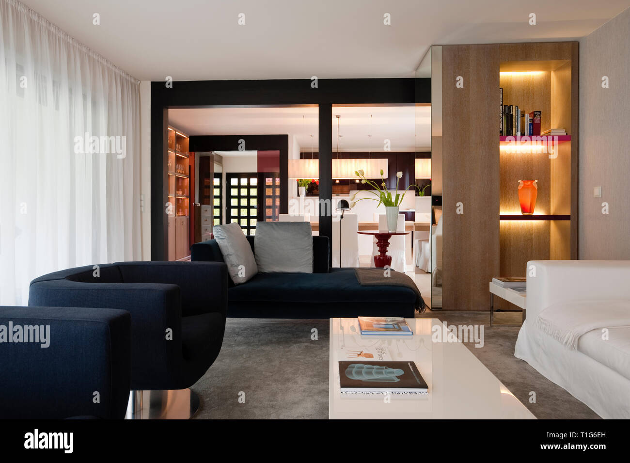 Modern living room with recessed shelves - Stock Image
