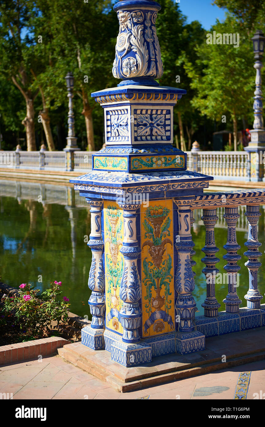 Tiled  lamp column of the Plaza de Espana in Seville built in 1928 for the Ibero-American Exposition of 1929, Seville Spain - Stock Image