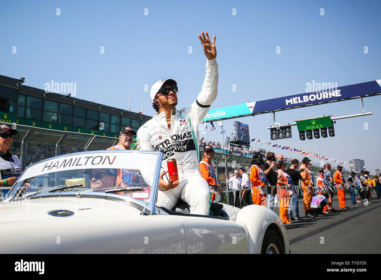 MELBOURNE, AUSTRALIA - MARCH 17: Lewis HAMILTON of Mercedes-AMG Petronas Motorsport on the drivers parade before the start of the 2019 Formula 1 Austr Stock Photo