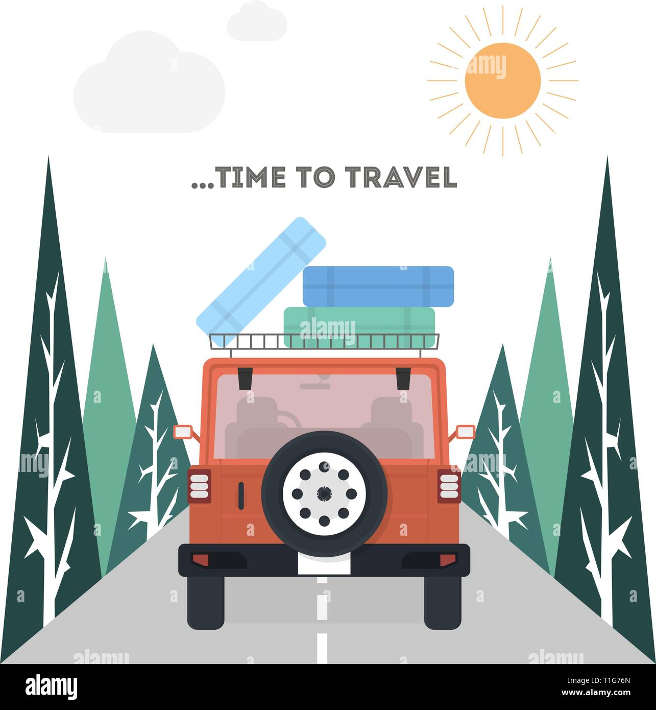 Travel on a car in flat style, vector - Stock Vector
