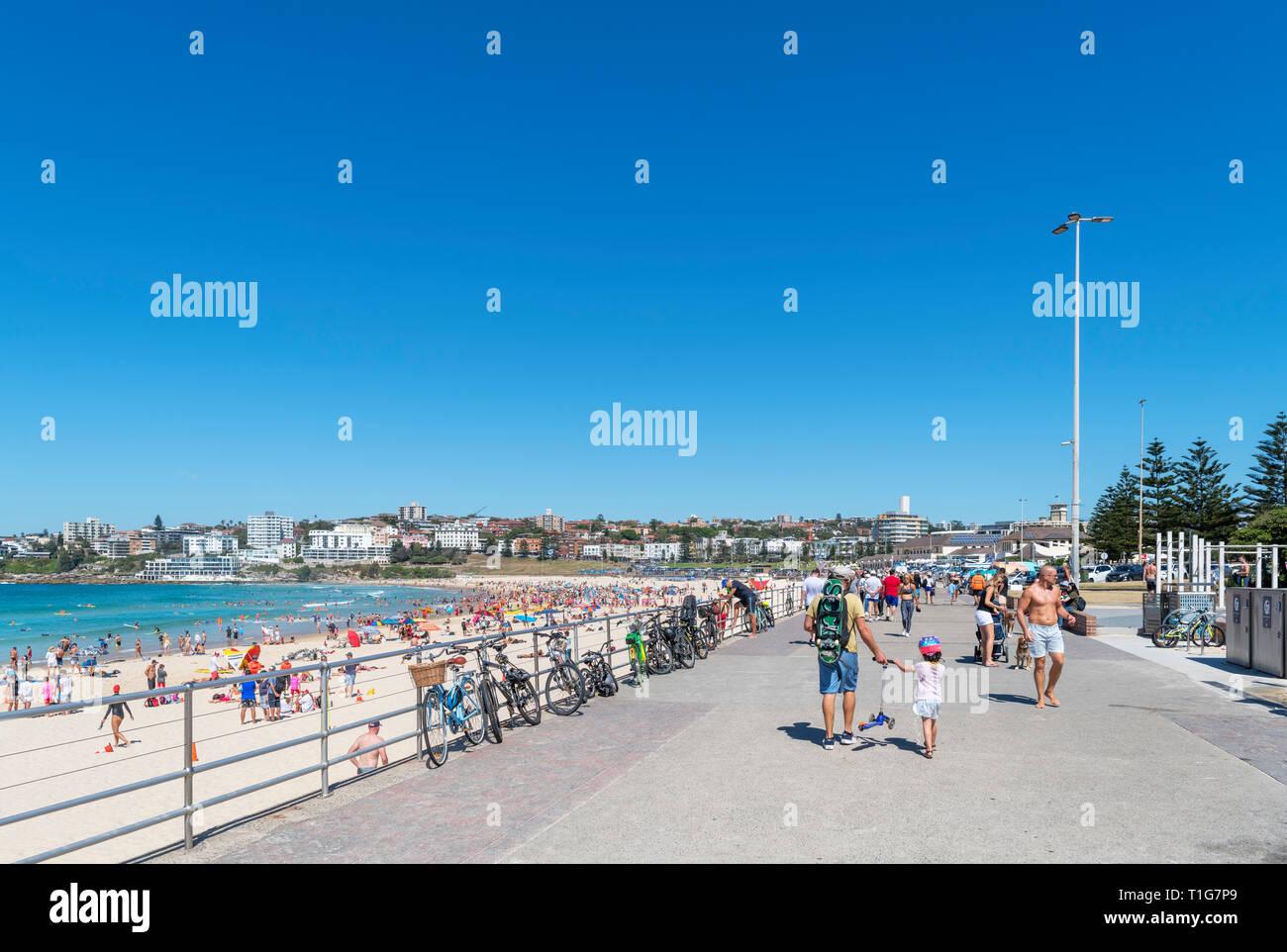 Promenade at Bondi Beach, Sydney, New South Wales, Australia - Stock Image