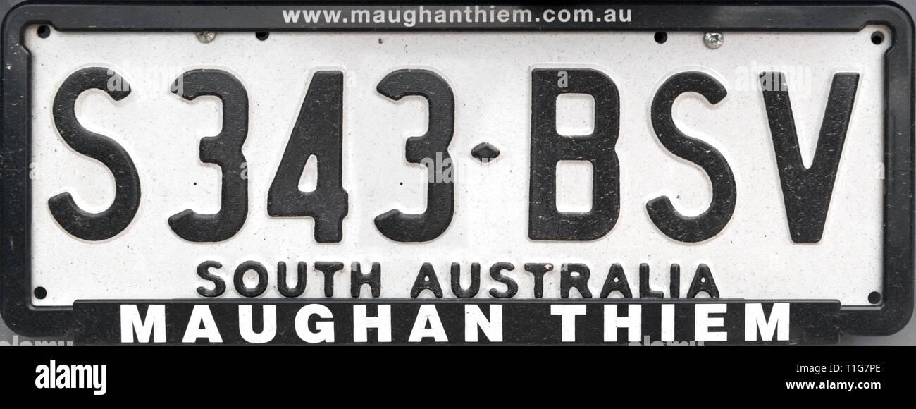 South Australia Number Plate, Australia - Stock Image