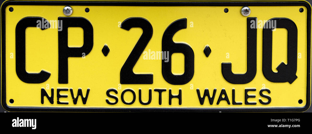 New South Wales Number Plate, Australia - Stock Image