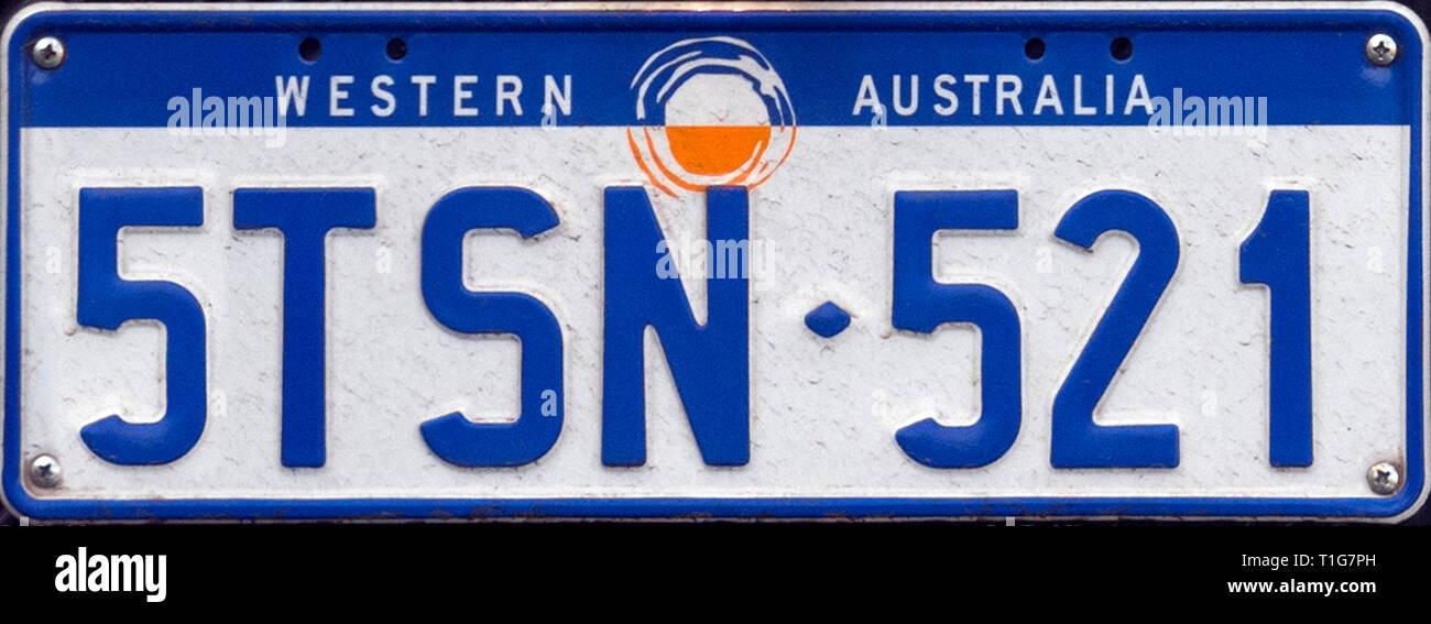 Western Australia Number Plate, Australia - Stock Image