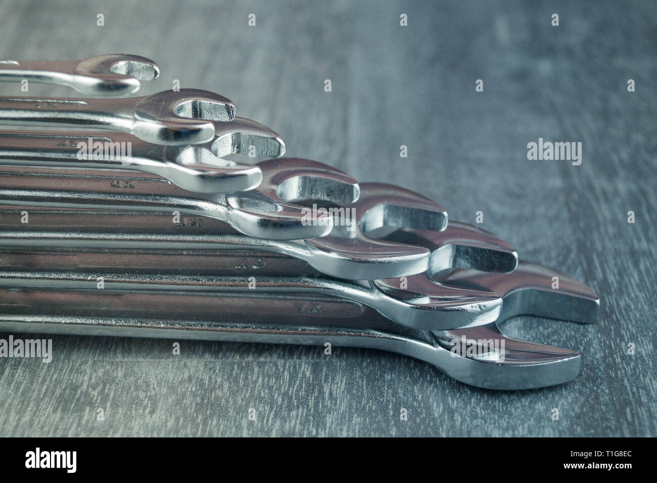a set of wrenches in different sizes - Stock Image