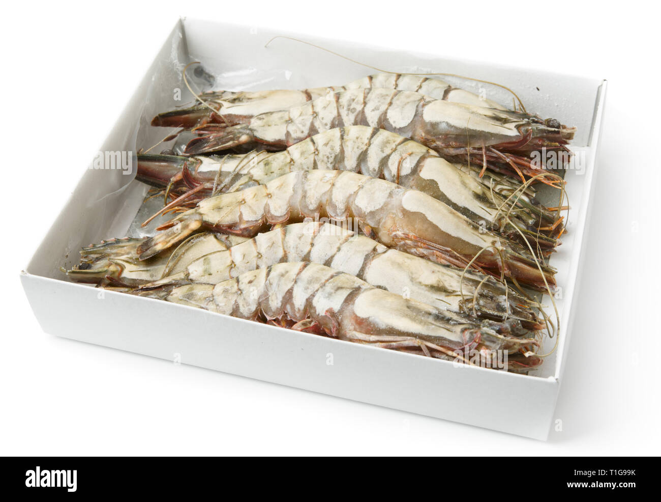 Giant prawns in retail pack, isolated on white with smooth shadow - Stock Image