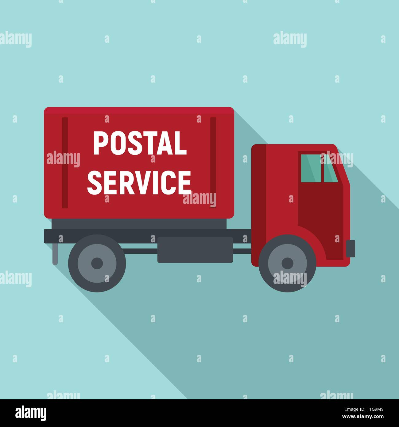 Postal service truck icon. Flat illustration of postal service truck vector icon for web design - Stock Image