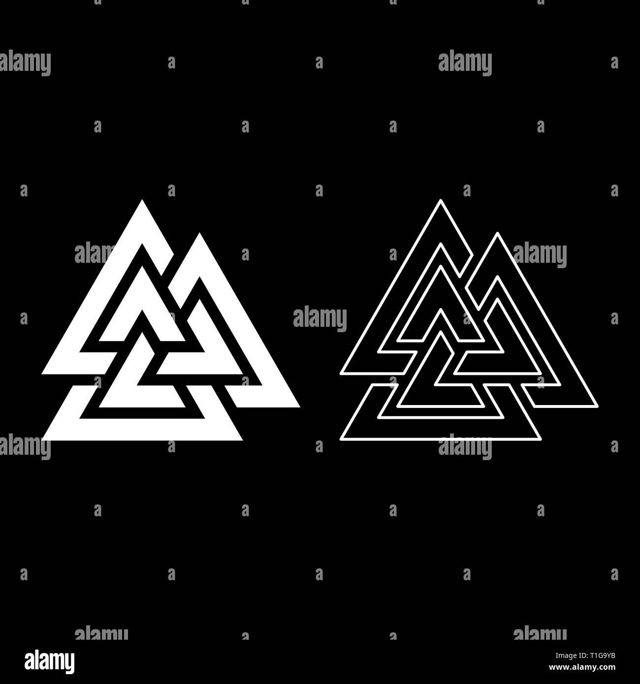 Valknut symbol icon set white color vector illustration flat style simple image - Stock Image