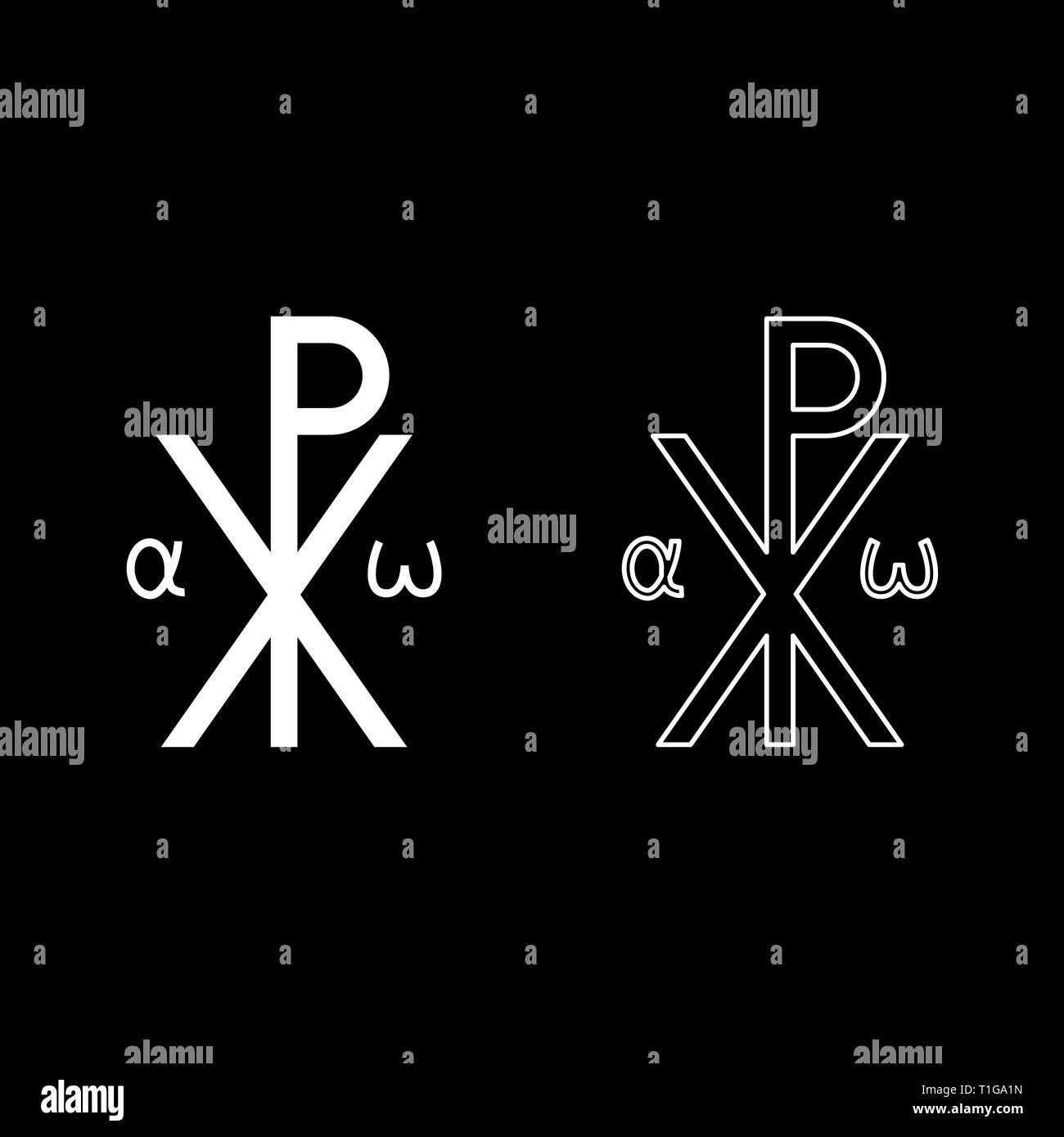 Crismon symbol Cross monogram Xi Hi Ro Konstantin Symbol Saint Pastor sign Religious cross Alfa Omega icon set white color vector illustration flat - Stock Vector