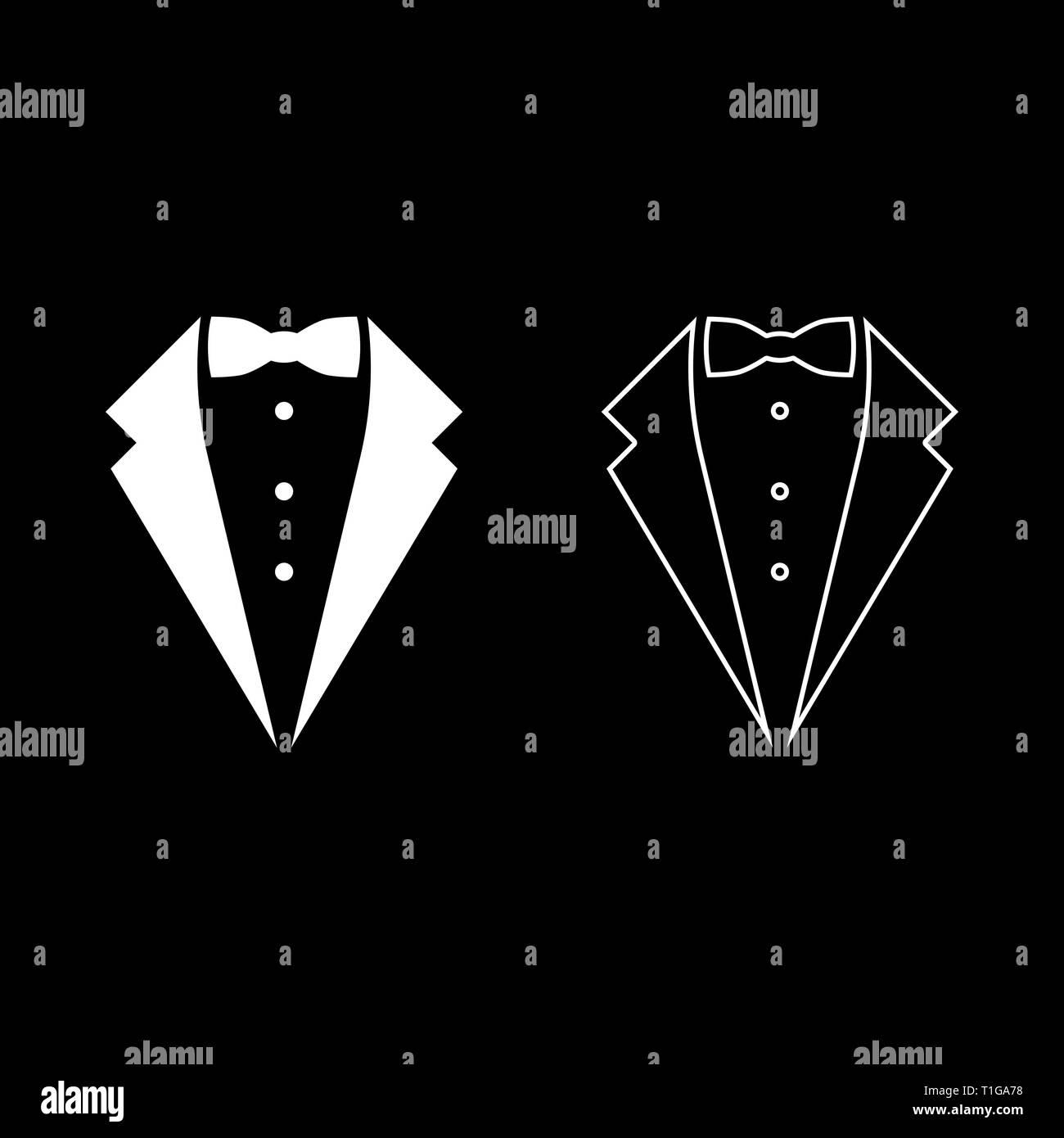 Symbol service dinner jacket bow Tuxedo concept Tux sign Butler gentleman idea Waiter suit icon set white color vector illustration flat style simple - Stock Image