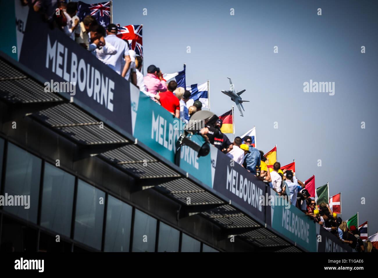 MELBOURNE, AUSTRALIA - MARCH 17: RAAF F/A-18 Jet display on day 4 of the 2019 Formula 1 Australian Grand Prix - Stock Image
