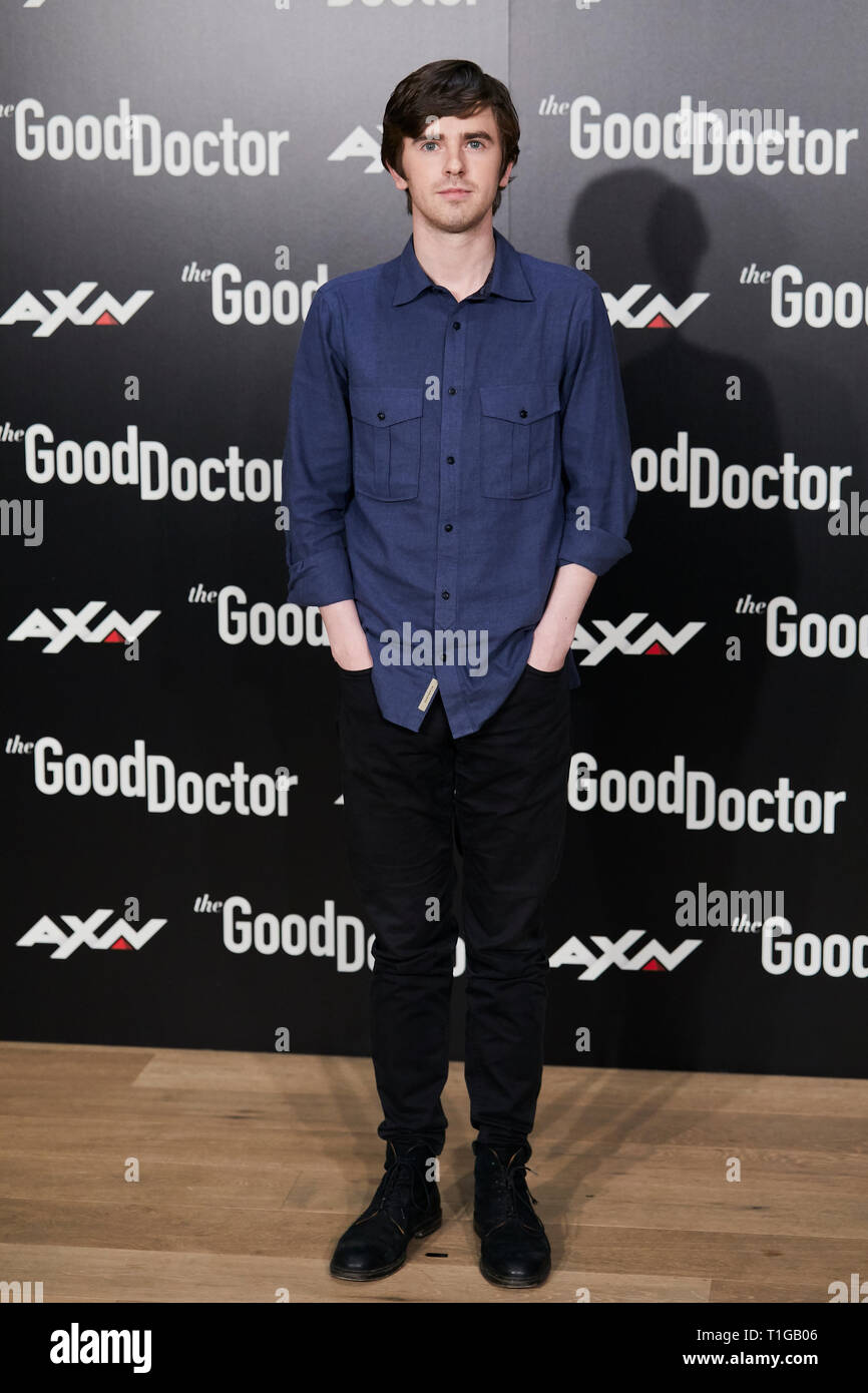 Freddie Highmore seen during The Good Doctor photocall at Urso Hotel in Madrid. Stock Photo