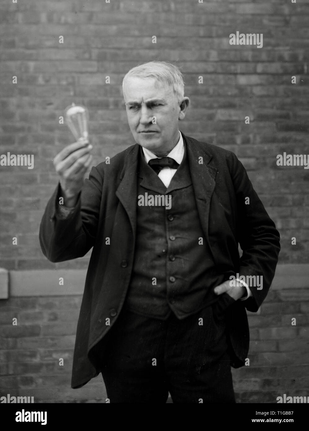 Inventor And Physicist Thomas Alva Edison Looking At His