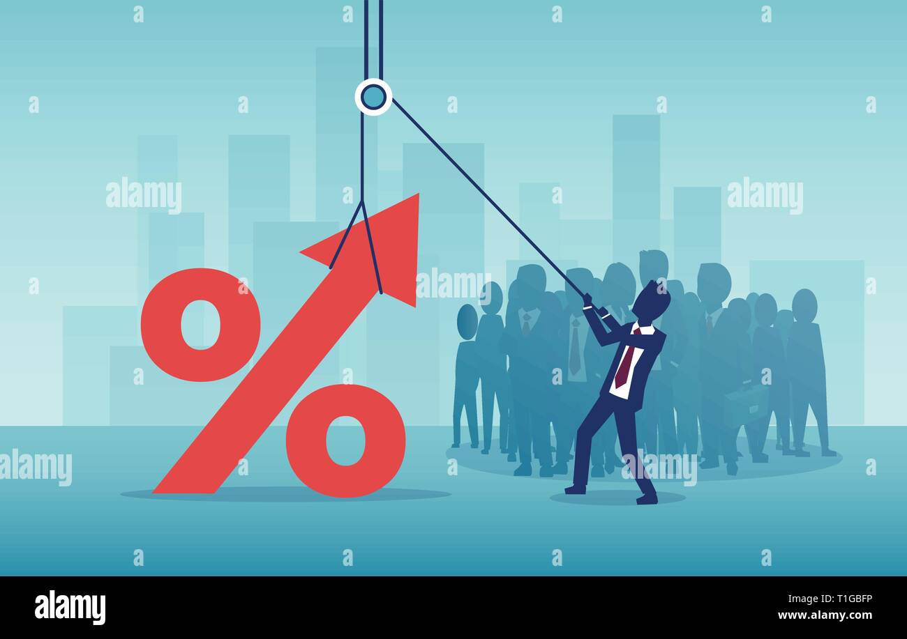 Interest rates, banking and real estate concept. Vector of a businessman pulling up a percentage symbol on a background of corporate crowd of people a - Stock Vector