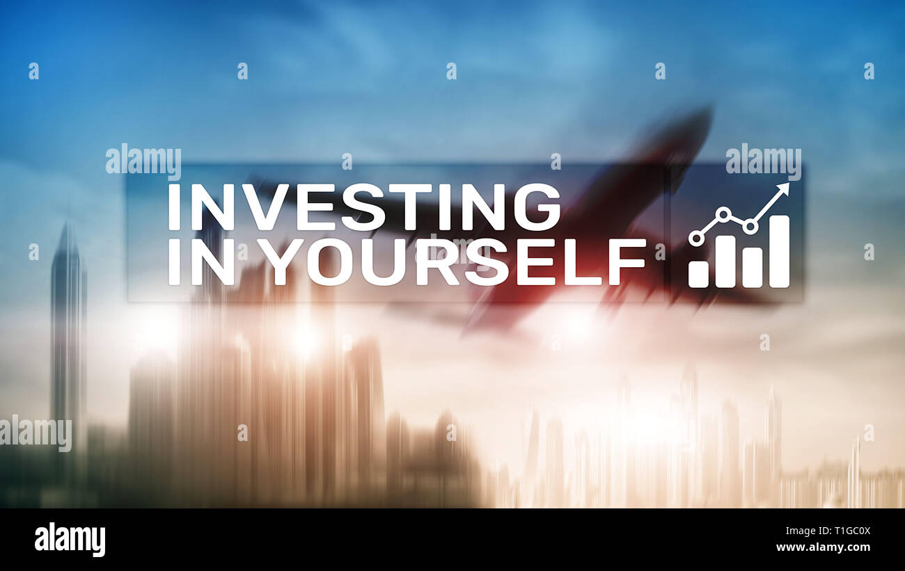 Invest in yourself. Personal development and education concept on abstract blurred background. - Stock Image