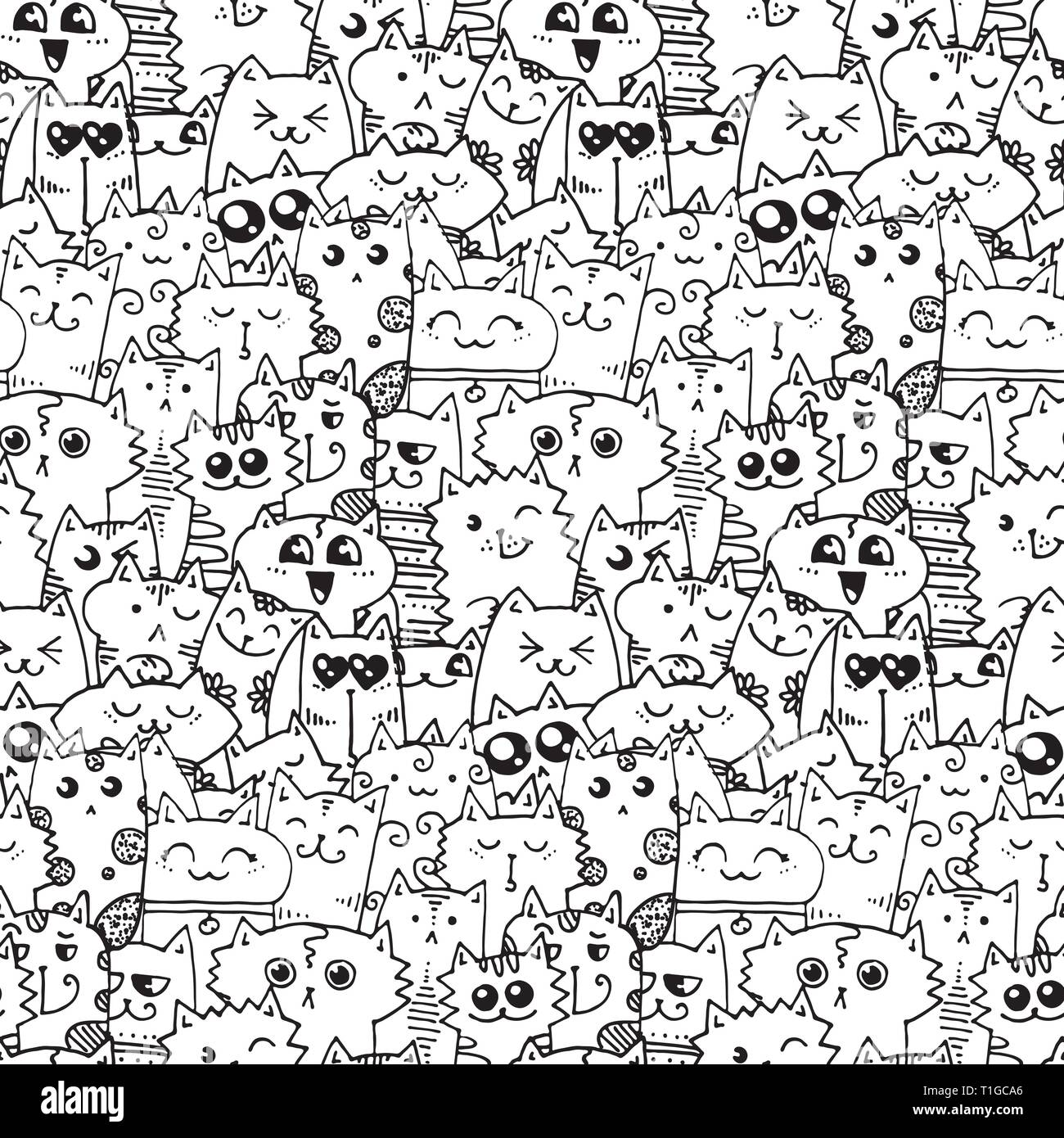 Cute doodle cats seamless pattern. Great for coloring book ...