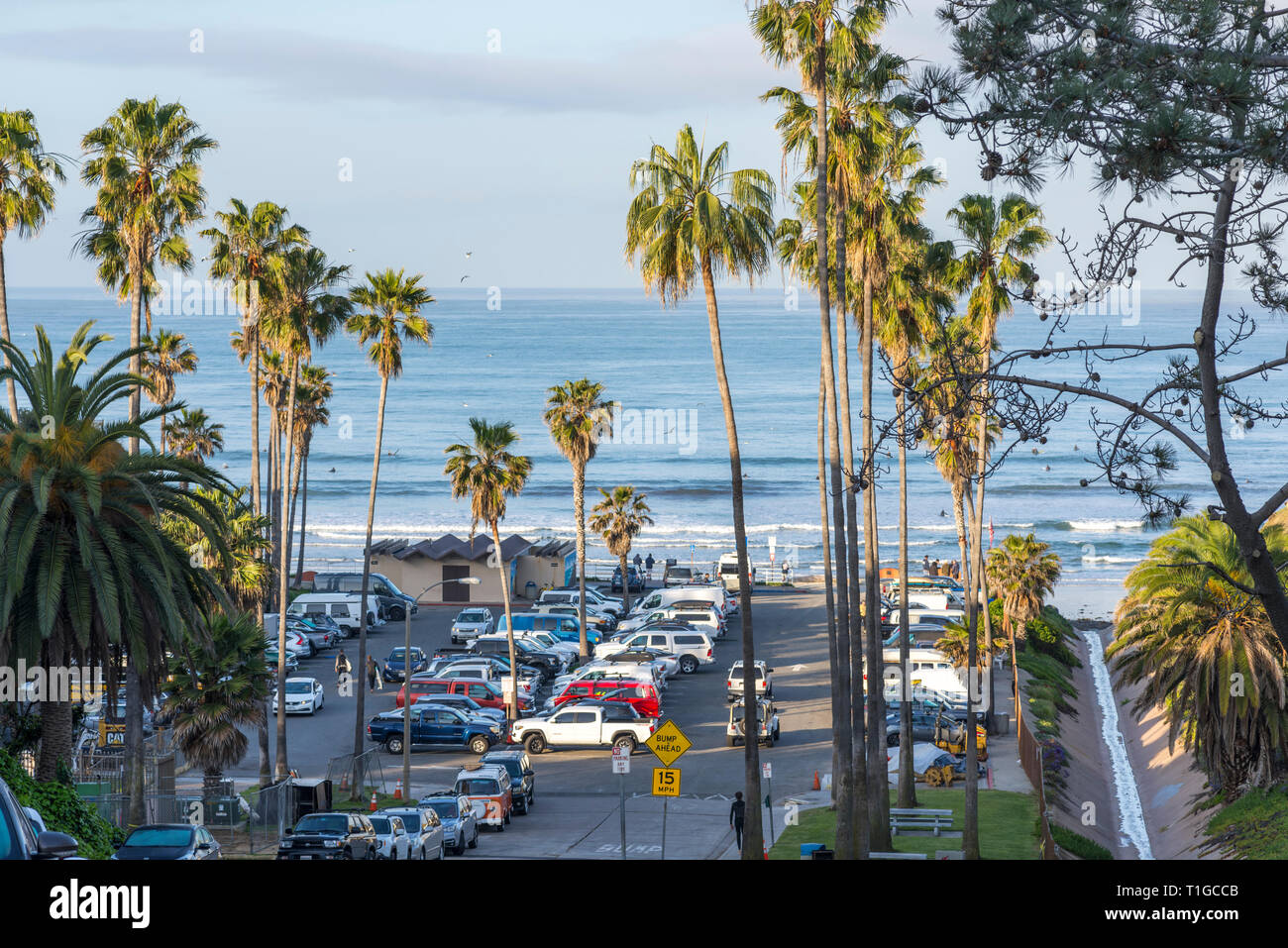 Tourmaline Surf Park on a March morning. Pacific Beach, San Diego, California, USA. - Stock Image