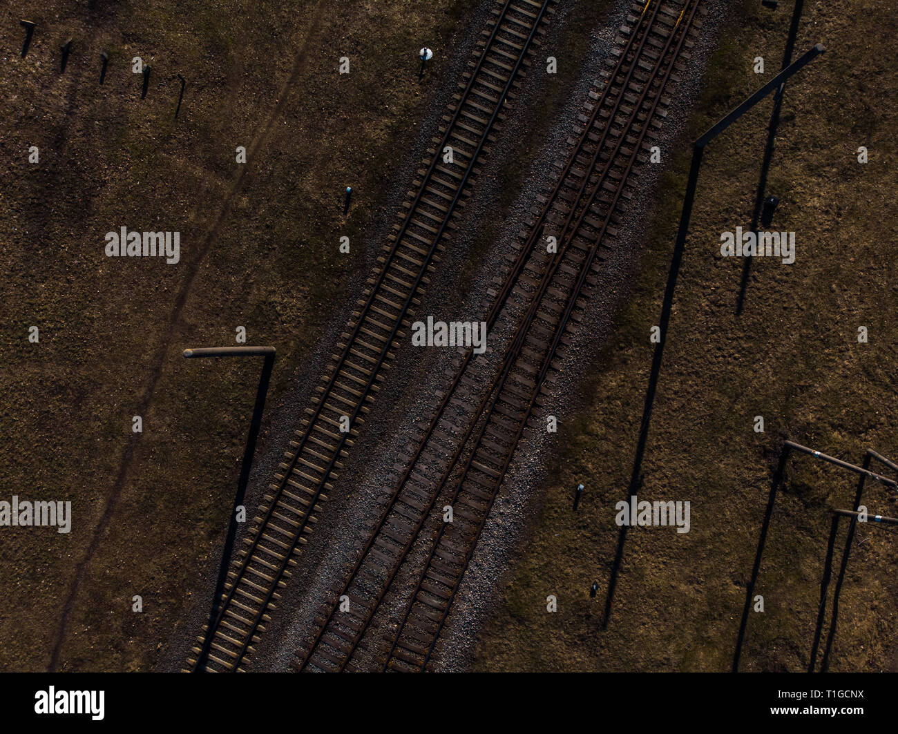 Top aerial view of some railraod tracks -Texture isolated shot of railway - Stock Image
