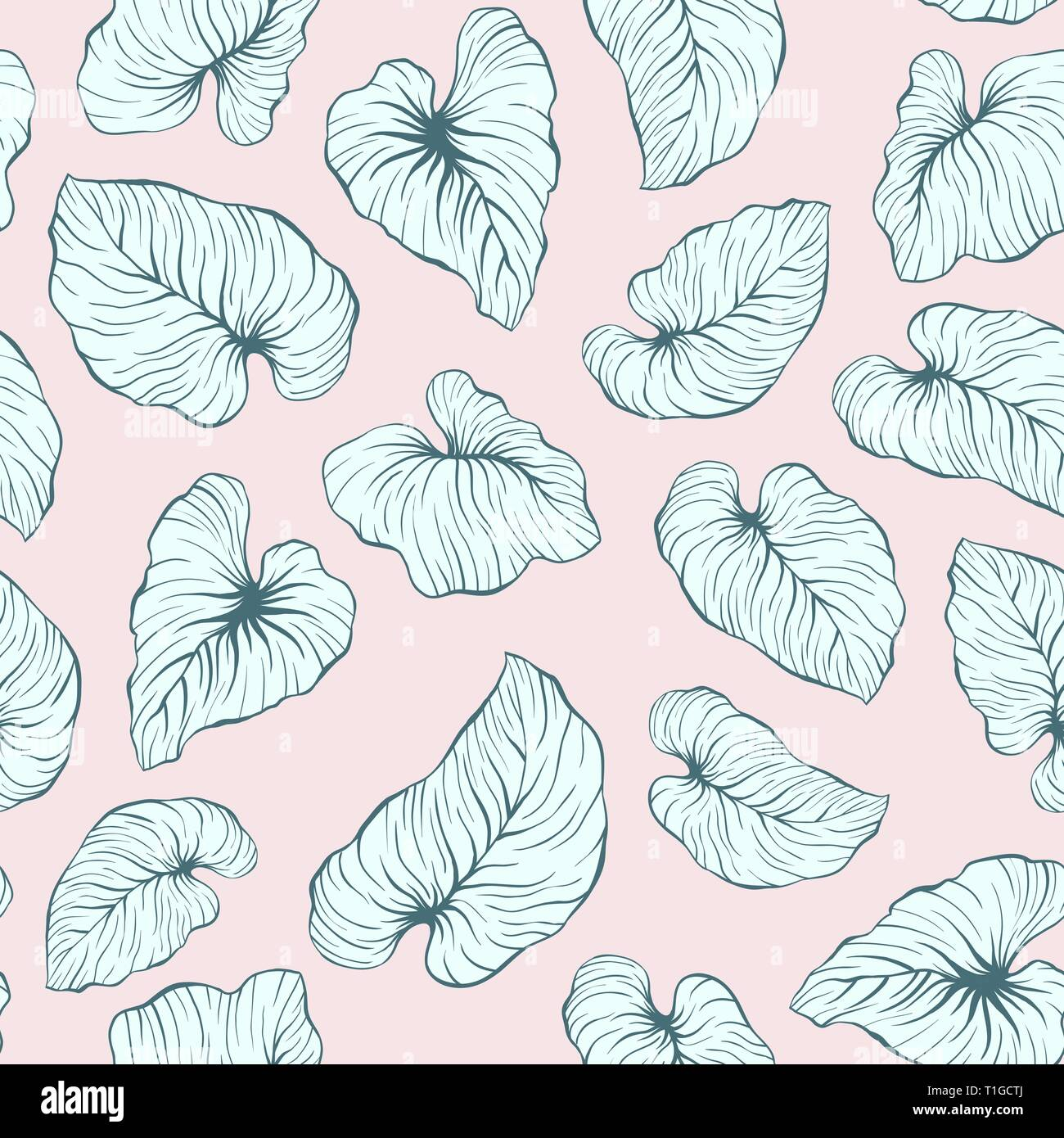 Falling Palm Leaves Repeat Seamless Vector Pattern for Italian Wedding or Pillow Tropical Background Design - Stock Vector