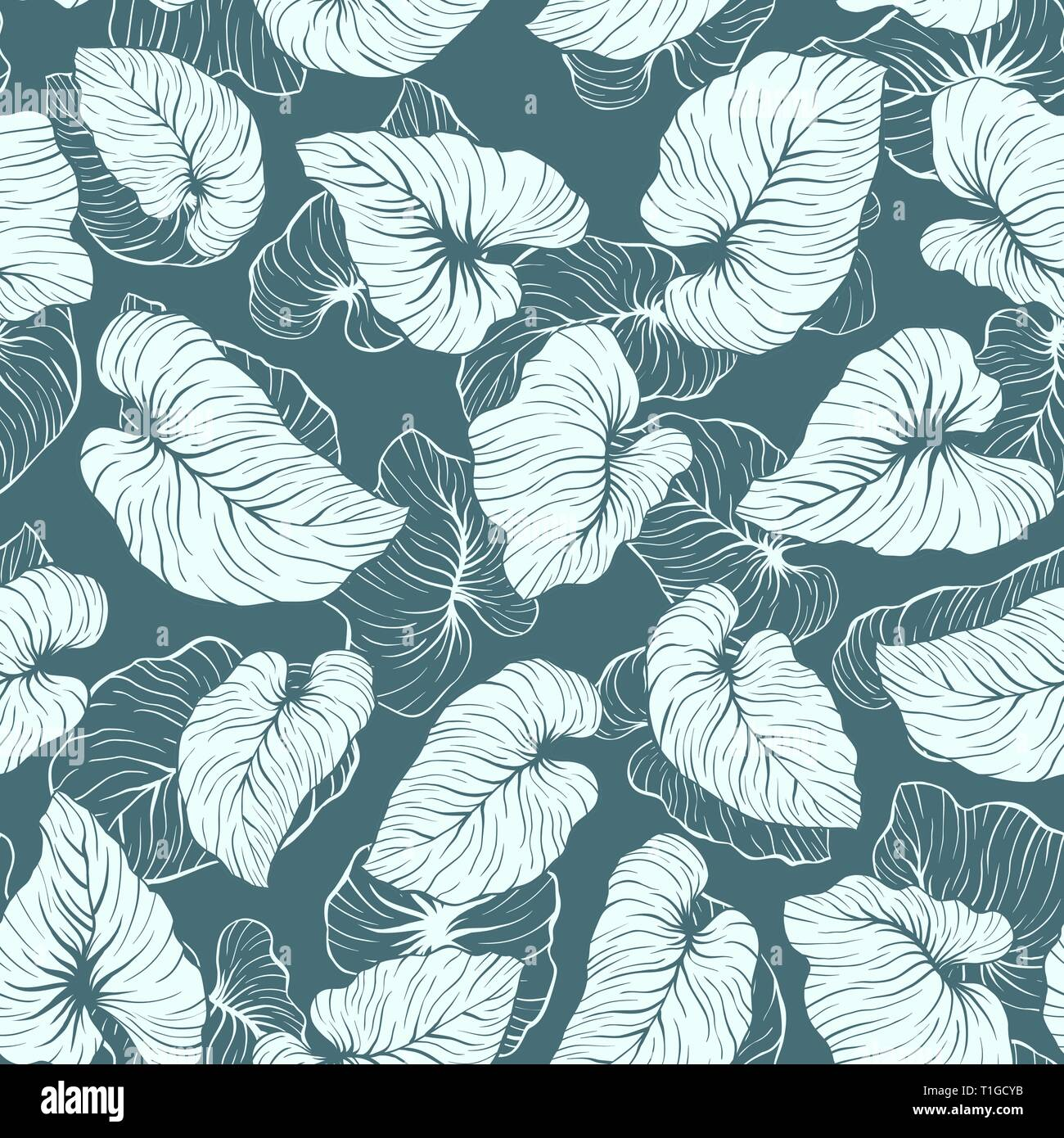 Falling Palm Leaves Repeat Seamless Vector Pattern - Stock Vector