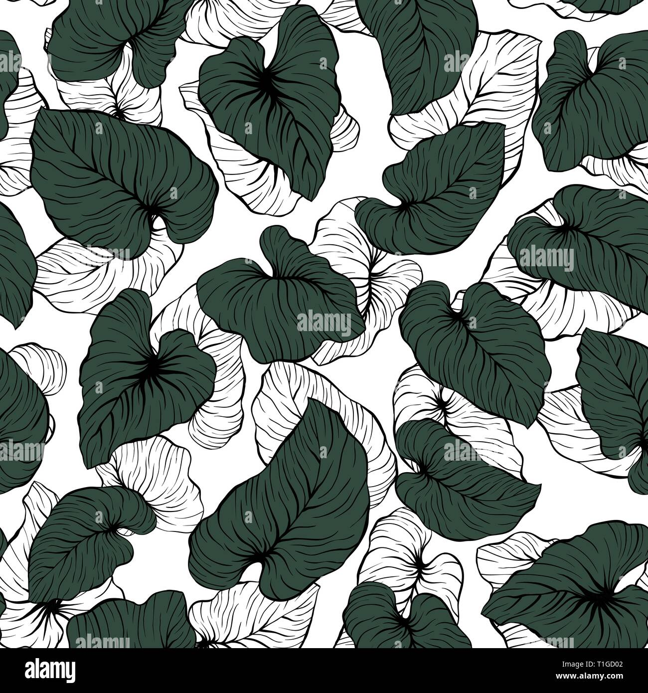 Falling Contrast Outline and Dark Green Palm Leaves Seamless Vector Pattern - Stock Vector