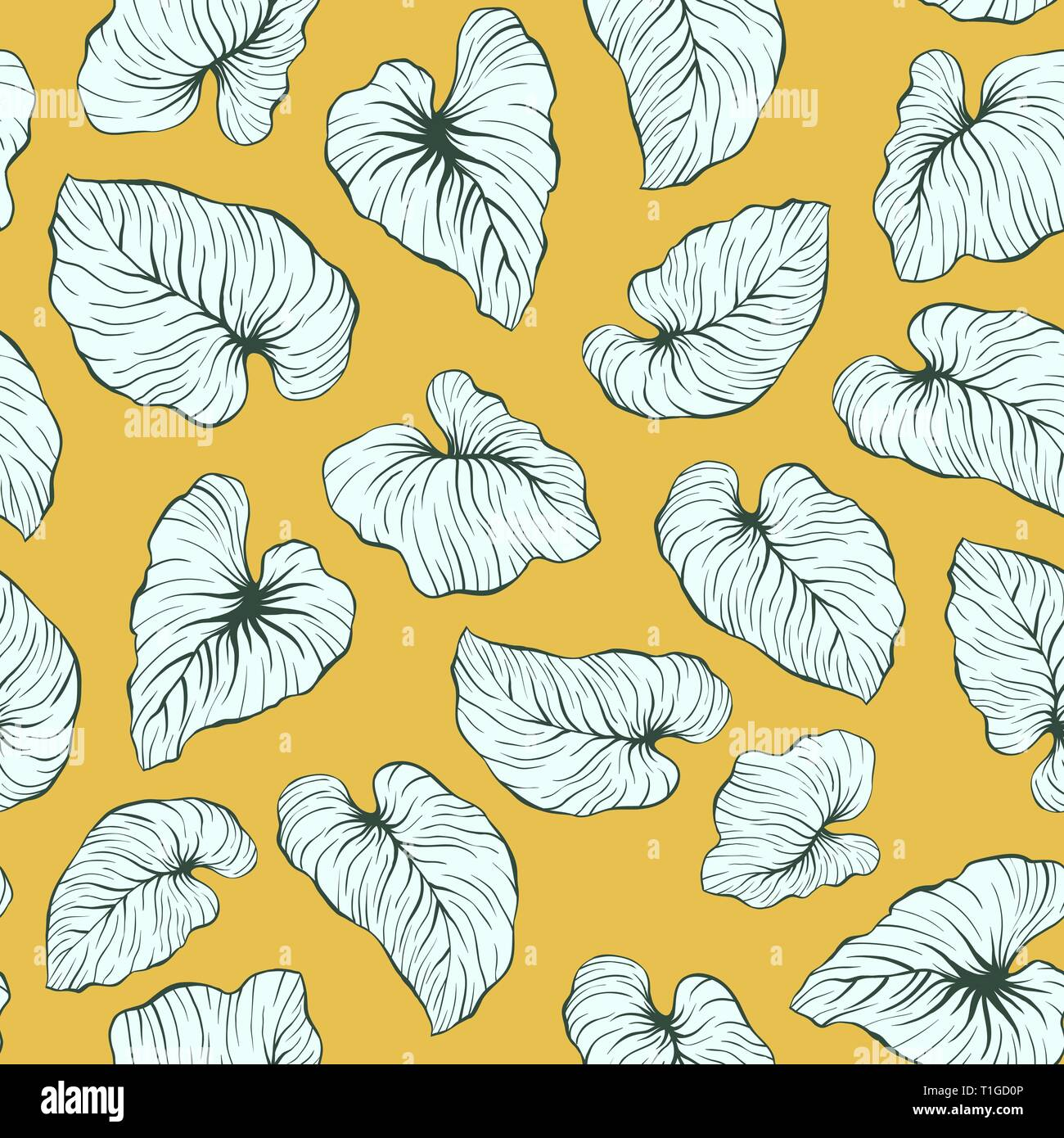 Yellow Falling Palm Leaves Repeat Seamless Vector Pattern - Stock Vector