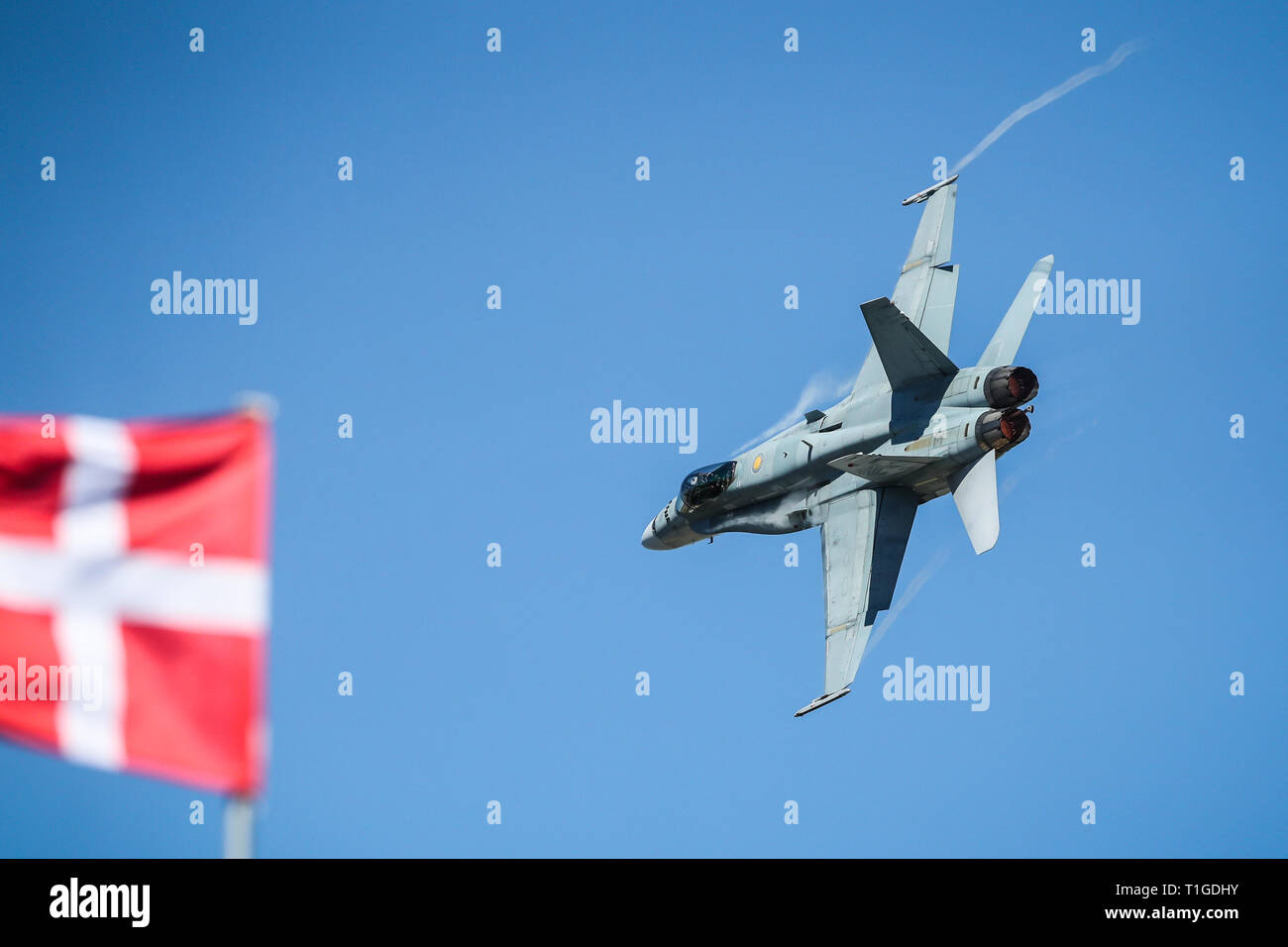 MELBOURNE, AUSTRALIA - MARCH 15: RAAF F/A-18 Reconnaissance completes an aerial display on day 2 of the 2019 Formula 1 Australian Grand Prix - Stock Image