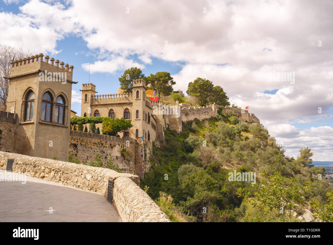 Xativa fortress. View to the mountains and skyes. Medieval construction, castle on the hill. - Stock Image