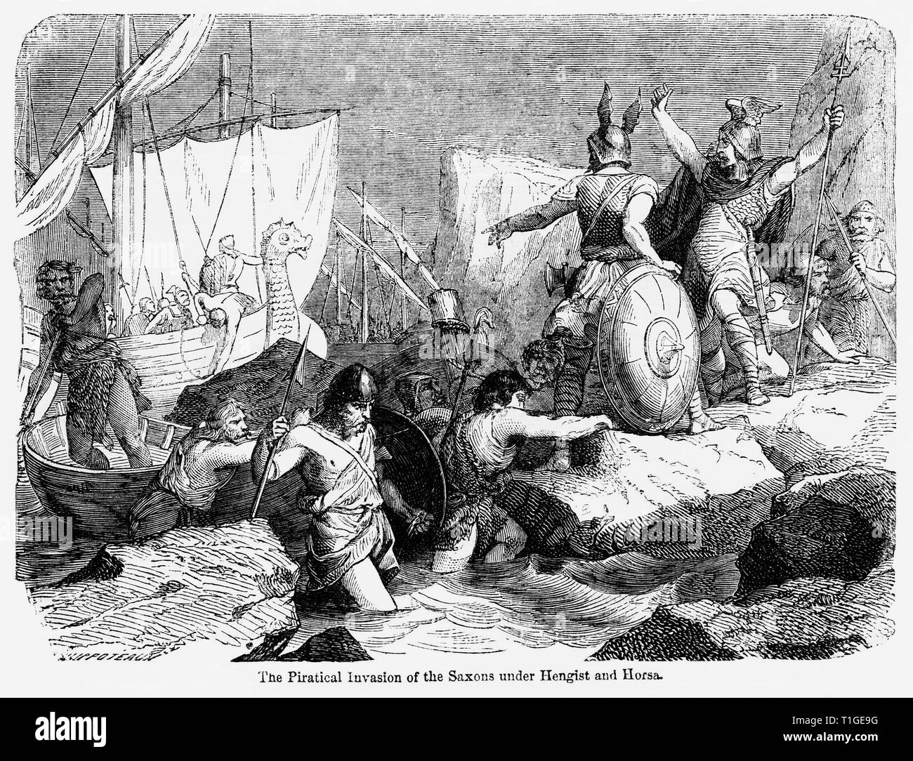 The Piratical Invasion of the Saxons under Hengist and Horsa, Illustration from John Cassell's Illustrated History of England, Vol. I from the earliest period to the reign of Edward the Fourth, Cassell, Petter and Galpin, 1857 - Stock Image