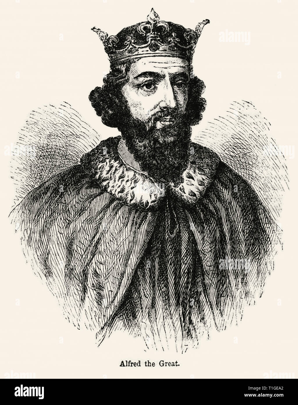 Alfred the Great, Illustration from John Cassell's Illustrated History of England, Vol. I from the earliest period to the reign of Edward the Fourth, Cassell, Petter and Galpin, 1857 - Stock Image