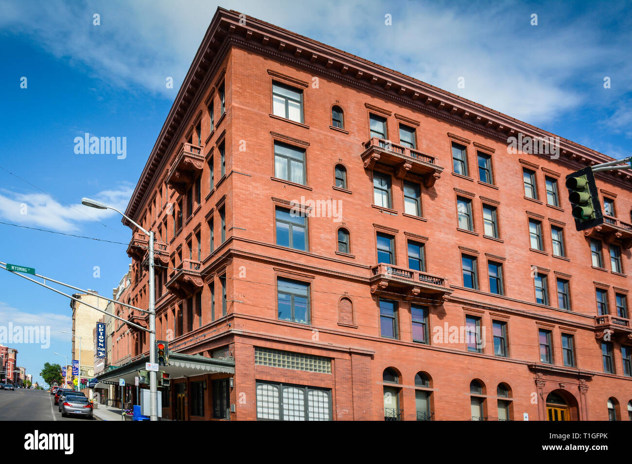 A beautiful old historic hotel is now converted into multiple business offices, in uptown Butte, MT, USA - Stock Image