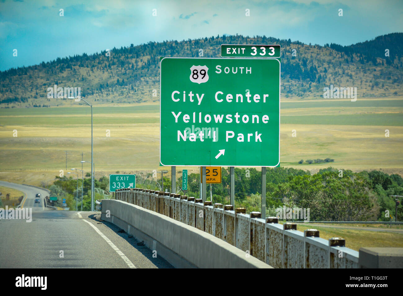 A Green Montana Interstate Exit Sign For South 89 Towards
