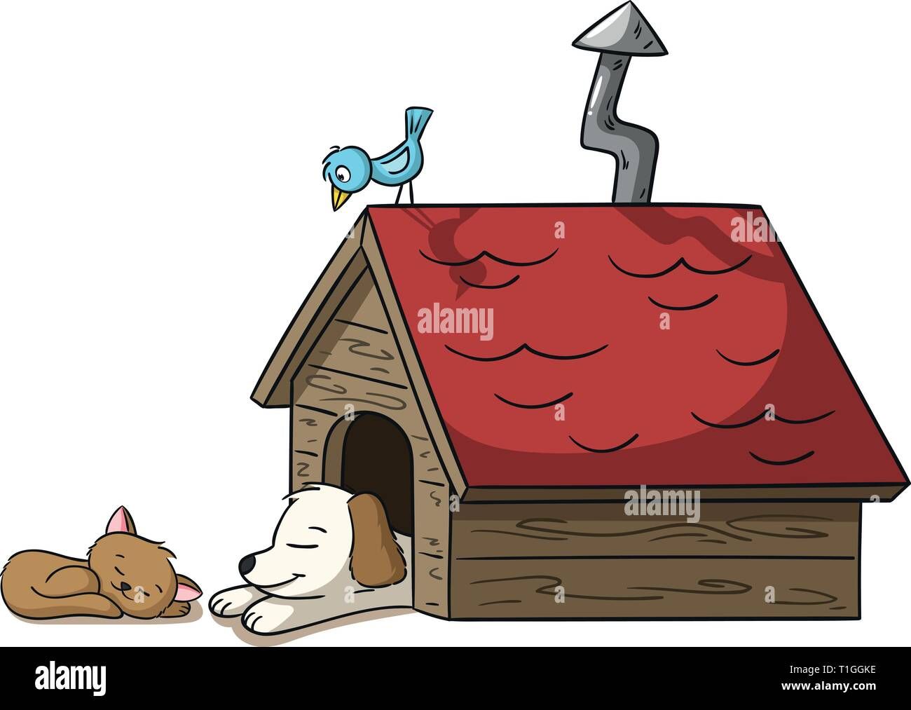Sleeping cat and dog at a doghouse with bird - Stock Image