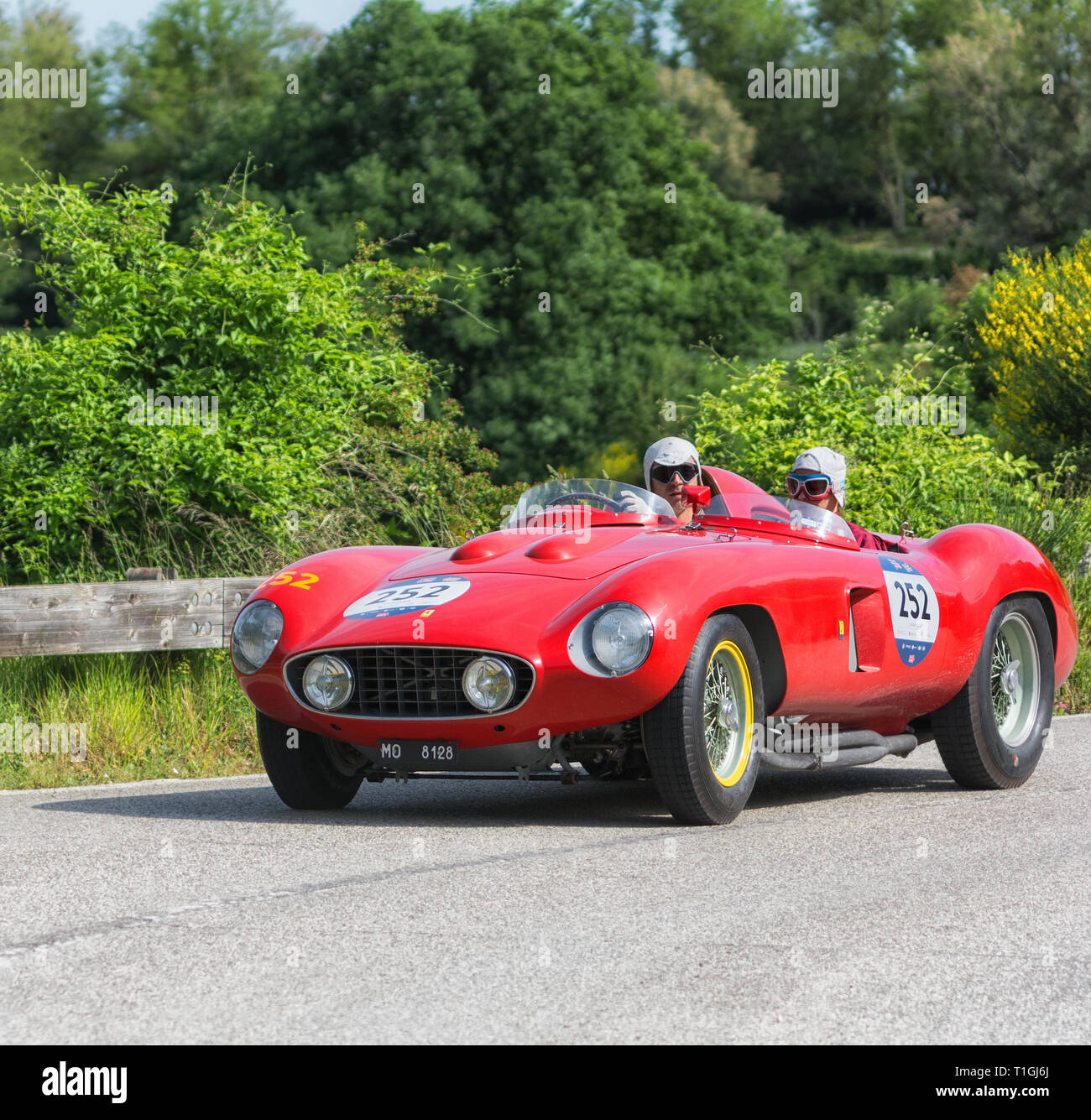 FERRARI 857 S 1955 on an old racing car in rally Mille