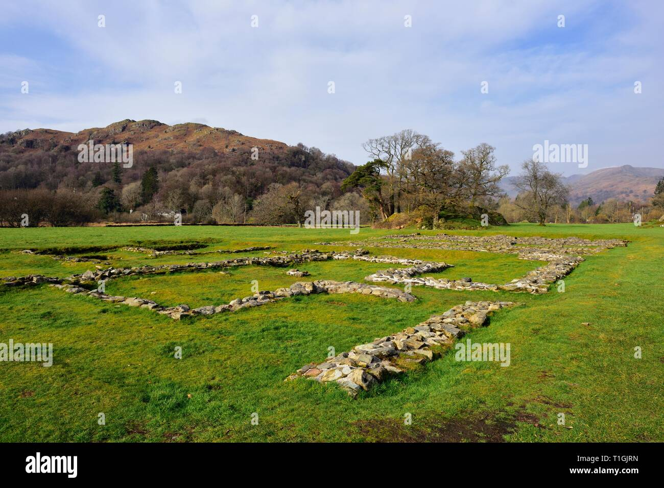 Ambleside Roman Fort,Lake District,Cumbria,England,UK Stock Photo